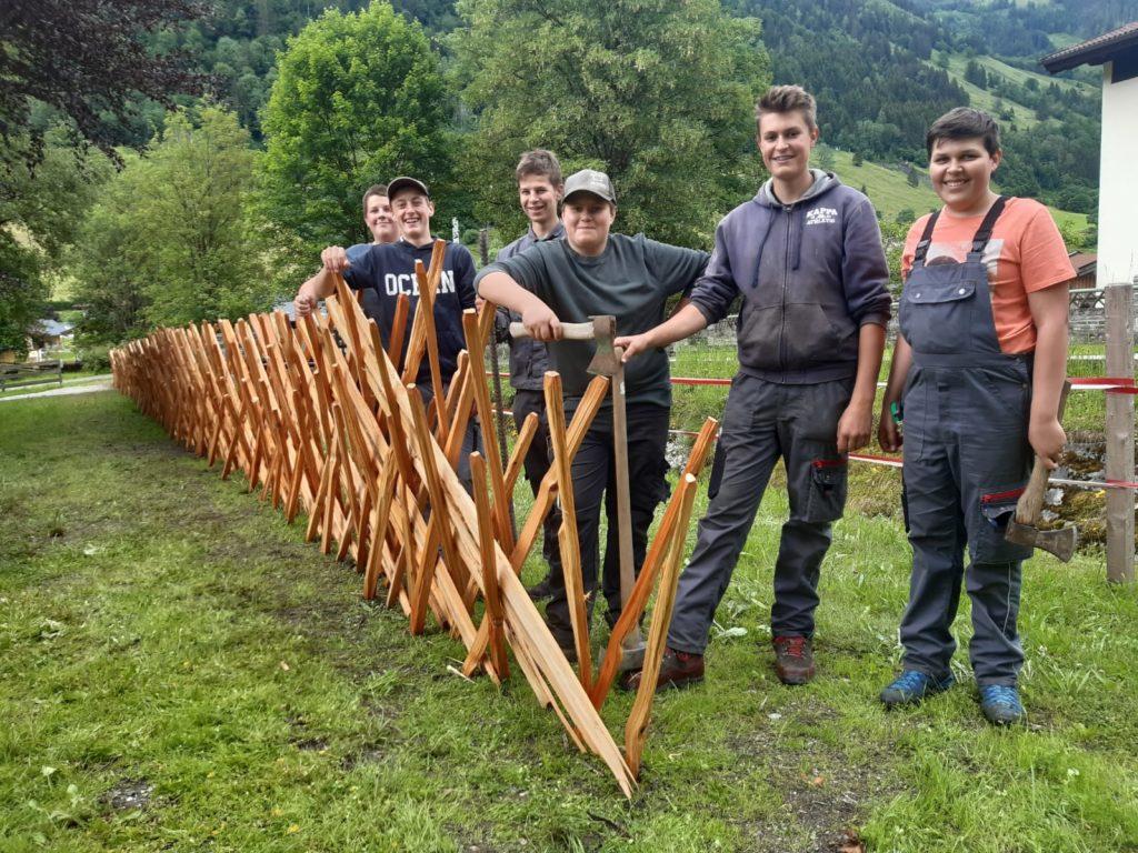 Schüler erstellen einen Pinzga Zaun